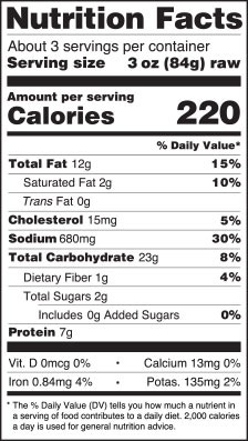Breaded Clam Strips nutrition information